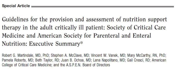 [临床基本知识] 有关 2009 ASPEN/SCCM 重症患者营养治疗指南中一些推荐的理解